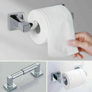 Square Modern Bathroom Toilet Paper Roll Holder in Chrome Wall Mounted Design UK