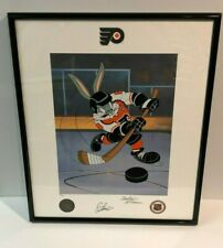ERIC LINDROS SIGNED Looney Tunes FLYERS Bugs Bunny He Shoots, He Scores Litho