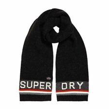Superdry Unisex Super SD Logo Scarf Warm Winter Scarve  Black Twist