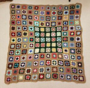 """Vintage Boho Crochet Granny Square Knitted Blanket 45"""" X 48"""""""