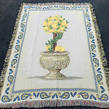 Sorrento Lemons Lemon Tree & Blue Paisley Border Tapestry Afghan Throw