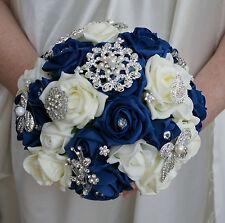 Bouquet De Mariée Bouquet Bleu Marin et Ivoire Roses avec Broches