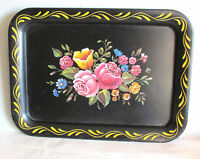 "Black Floral Bouquet Metal TV Tray Serving Lap mid century 17.5x12.75"" FREE SH"