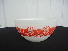 vintage retro red & orange design pyrex mixing bowl