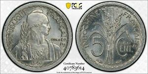 1946 French Indo China 5 Centimes Essai PCGS SP63 Lot#G542 Scarce Type!
