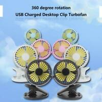 3 Speeds 1200mAh USB Charging Brushless Motor Desktop Turbine Small Fan Portable