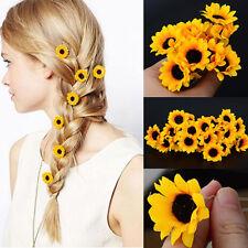 5Pcs Boho Daisy Flower Hair Cuff Clip Hair Pin Wedding Bridal Hair Stick Rakish