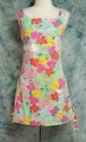 Lilly Pulitzer Womens sz 6 Green Pink Floral Bird Beach Sleeveless Sheath Dress