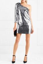 VERONICA BEARD Black Silver All-Over Sequin One Shoulder ATLANTIS Disco Dress 6
