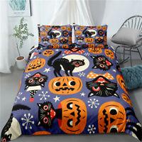 3D Pumpkin Black Cat Duvet Cover Queen Halloween Bedding Quilt Cover Pillowcase