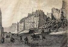 Paris Rue des écoles en 1866 Alfred Alexandre Delauney 1830-1894 pointe sèche