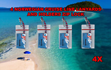 4 NORWEGIAN CRUISE LINES I.D. HOLDERS AND LANYARDS ZIP L0CK SEALED UNIVERSAL USE
