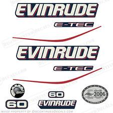 Evinrude 60hp Blue Cowl E-Tec Outboard Decals- 2004 2005 2006 2007 2008 Stickers