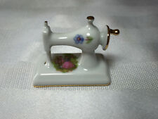 Miniature Limoges Castel Porcelain Sewing Machine Courting Couple White & Gold