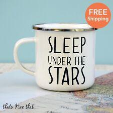 Sleep Under The Stars Enamel Mug Camping BBQ Gardening Metal Vintage Cup Tea Fun