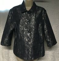 ALFRED DUNNER Petite Blue Silver Metallic 3/4 Sleeve Slimming Size 14P  Jacket