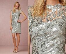 $330 NWT Tadashi Shoji Sequin Paillette Embroidered Sheath Lace Dress Ice Sz 16