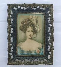 Rare Small Antique Silk Picture Printing Brass Frame Wall Hanging Victorian