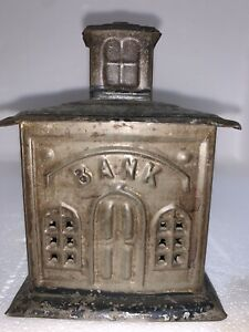 Original 1880's Embossed Tin House Penny Bank Primitive Antique Toy