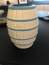 Vtg Atlantic City Souvenir Salt Water Taffy Circus Clown Barrel Bank James Candy
