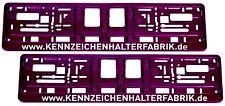 2 Stück Kennzeichenhalter Chrom LILA mit WUNSCHTEXT Nummernschildhalter Satz