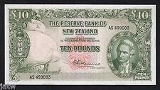 NEW ZEALAND P-161d.  (1967) 10 Pounds - Fleming. Last Prefix AS.. UNC
