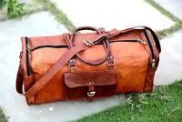 Leather Weekend Bag Genuine Travel Duffle Sports Cabin Gym Holdall Luggage Bag