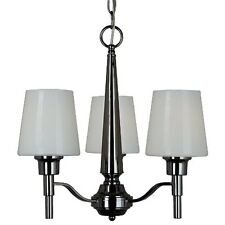 Contemporary Elegant Black Chrome 3 Light Chandelier with White Glass Shades