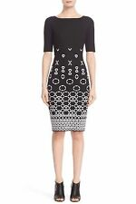 St. John Collection BLACK & WHITE Caviar Bianco Graphic Knit Dress SIZE 14 NeW