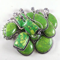 Wholesale Lot !! 50 PCs Green Turquoise Gemstone Silver Plated Pendant Jewelry.