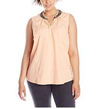 Junarose Women's Plus-Size Bonja Sleeveless Shirt with Neck Detail Size 14 US