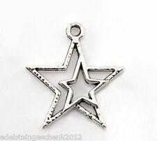 50 Charm Anhänger für Halskette Antik Silber Doppel Sterne 23x21mm