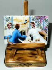"LIMOGES BOX - SINCLAIR - RENOIR PAINTING ON AN EASEL - ""THE ROWERS' LUNCH"" - LE"