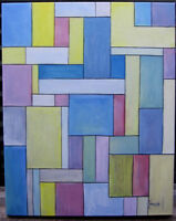 collectible BELOW THE CLOUDS 16x20 mondrian painting Mondrian style art Crowell
