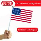 100 Pack Small American Flags Small US Flags/Mini American Flag on Stick 5x8 In