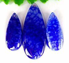 3Pcs/1set Wholesale Nice Blue Dragon Veins Agate Teardrop Pendant Bead AE48