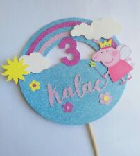 Personalised Peppa Pig Rainbow & Flowers Cake Topper Any Name & Number