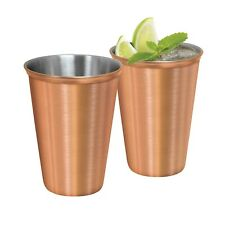 New OGGI 12oz Stainless Steel Tumblers W Satin Copper Plated Exterior Set of 2
