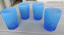4 Fenton Glass ~ Sapphire Blue Opal Hobnail  Tumblers ~ Gracious Touch ~ 1980s