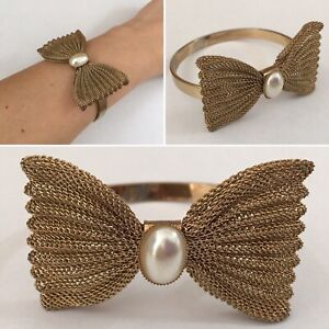Vintage Bangle Brass With Bow & Faux Pearl Stone Statement Cuff Art Deco Style