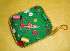 Vintage Emerald Green Embellished Pin Cushion Collectible Sewing Room