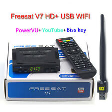 DVB-S2 Freesat V7 Receptor satellite Decoder + USB WIFI Support Biss key Powervu