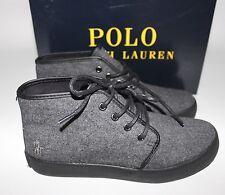 NIB POLO RALPH LAUREN Size 5 Boy's Grey Flannel Pony Logo ETHAN MID Shoe