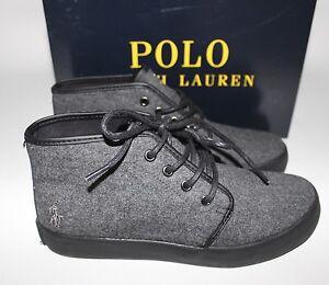 NIB $68 POLO RALPH LAUREN Size 2 Child Boy's Grey Flannel Pony ETHAN MID Shoe