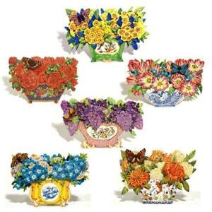 36 Decoupage Flowers in a Die-cut Bowl Greeting Cards (EG)