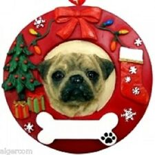 PUG Tan Fawn Dog Round Resin Christmas Holiday Ornament New Box
