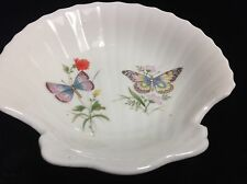 DEW Takahashi San Francisco Hand Decorated Ceramic Shell Dish With Butterflies