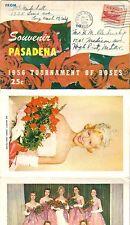1956 TOURNAMENT OF ROSES SOUVENIR 10 PICTURE FOLDOUT POSTCARD