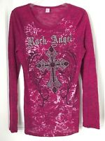 Otomix  Rock Angel Women's Size Large Ribbed Long Sleeve Shirt - Rhinestones