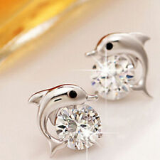 Women Cute Dolphin Earrings 925 Sterling Silver Plated Stud Studs Crystal Gift
